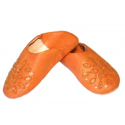 Babouche Enfant paillettes ORANGE