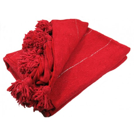 couverture laine pompons rouge rayures argent