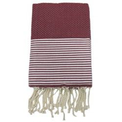 Fouta nid d'abeille BORDEAUX rayures BLANCHES