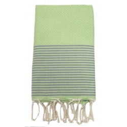 Fouta nid d'abeille ziwane VERT ANIS rayures GRISE