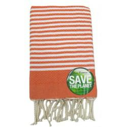Fouta nid d'abeille ORANGE et BLANC