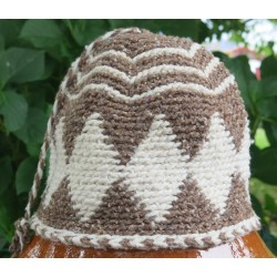 Bonnet laine Marron Blanc