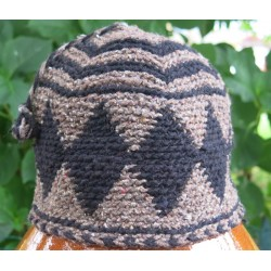Bonnet laine Marron Noir