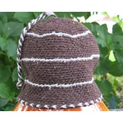 Bonnet laine Marron Gris