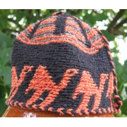 Bonnet laine Noir Orange Marron