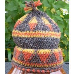 Bonnet laine Marron Jaune Orange