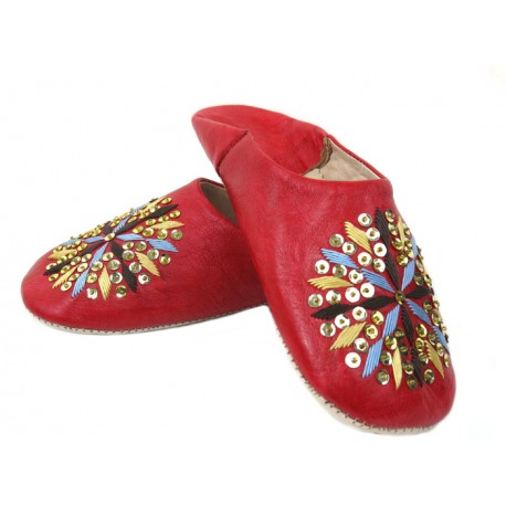 Babouche rouge broderie Paillettes