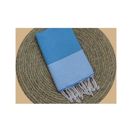 Fouta nid d'abeille Ziwane couleur Turquoise rayures blanc