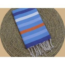 Fouta tissage à plat « NEW » Sunset Beach 5 couleurs Bleu cosmique, Bleu Thermes, Orange, blanc et Bleu Nattier
