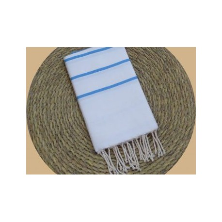 Fouta tissage à plat Ibiza Couleur Blanc rayures Turquoise