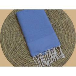 Fouta nid d'abeille Unie couleur Bleu major