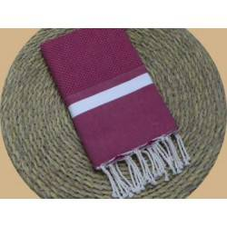 Fouta nid d'abeille Spa couleur Rouge Tokyo bande blanche