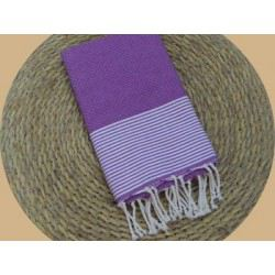 Fouta nid d'abeille ziwane violet rayures blanches