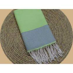 Fouta nid d'abeille ziwane vert anis rayures lilas
