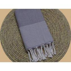 Fouta nid d'abeille ziwane taupe rayures beige