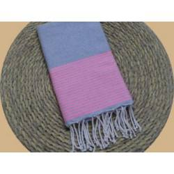 Fouta nid d'abeille ziwane gris alu rayures rose fluo