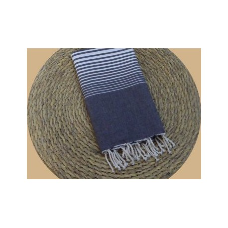 Fouta tissage à plat Miami couleur gris anthracite rayures blanches
