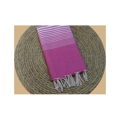 Fouta tissage à plat Miami couleur rose fuschia rayures blanches