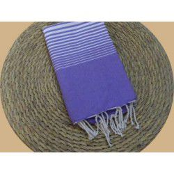 Fouta tissage à plat Miami couleur lilas rayures blanches