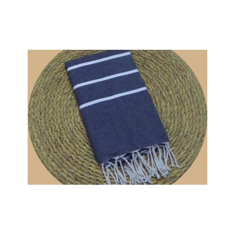 Fouta tissage à plat Ibiza noire rayures blanches