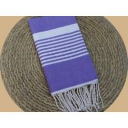 Fouta tissage à plat Arthur lilas rayures blanches