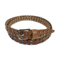Ceinture Cuir MARRON rivets multicolore largeur 2,3cm