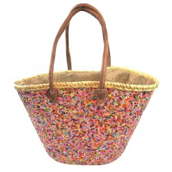 Panier osier Grand paillettes MULTICOLORE