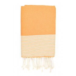 Fouta nid d'abeille Ziwane couleur Orange / Blanc