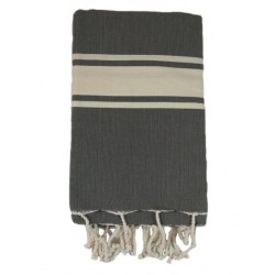 Fouta tissage à plat anthracite bande blanche