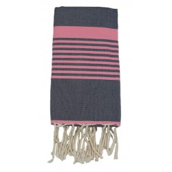 Fouta tissage à plat anthracite bande rose