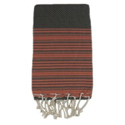 Fouta nid d'abeille gris rayures orange
