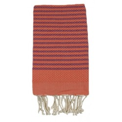 Fouta nid d'abeille orange rayures bordeaux